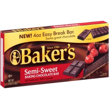 Bakers Semi-Sweet Baking Chocolate Bar 113g (4oz) - 12 Packs CASE BUY