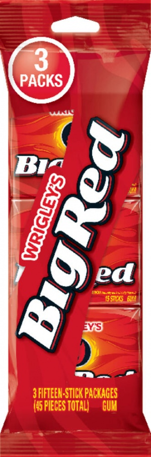 BIG RED SLIM PACK CHEWING GUM - 15 STICK PACKS (MULTIBUY 3 PACK) AMERICAN IMPORTED