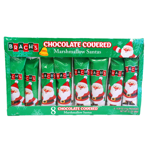 Brach's chocolate covered marshmallow santas 8 pack