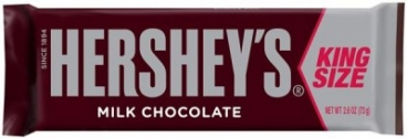 Hersheys Milk Chocolate Bar King Size 2.6oz 73g Hershey's