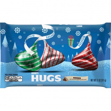 HERSHEY'S HUGS ,Christmas Kisses Milk Chocolate Large  11oz (311g) Bag