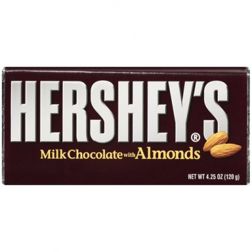 Hersheys Milk Chocolate with Almonds XL 120g (4.25oz) Bar Hershey's