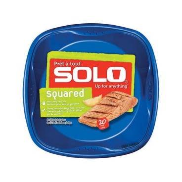 SOLO Grip Square Blue Plate 9in 20 count/pack