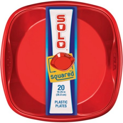 SOLO Grip Square Red Plate 9in 20 count/pack