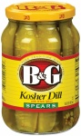 B&G Kosher Dill Spears Pickles with Whole Spices 16 Fl oz (473ml)