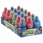 Baby Bottle Pop Assorted Flavor Candy Lollipops with Powdered Candy, 1.1oz,-18CT