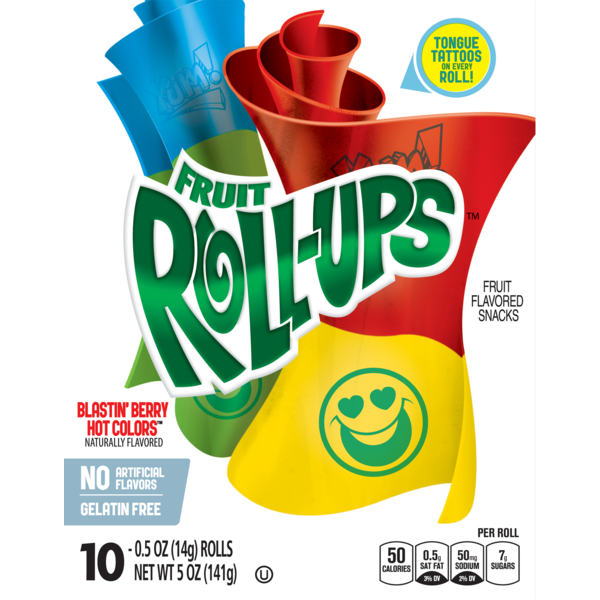 Fruit Roll Ups Blastin Berry Hot Colors 0.5 oz pack of 2