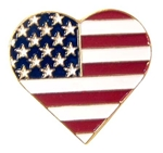 American Flag Heart Lapel Pin USA HEART