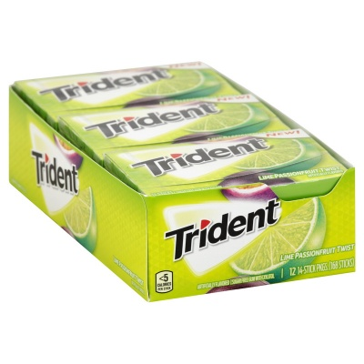 Trident Lime Passionfruit Twist-sugar free 14 sticks Case 12 packs